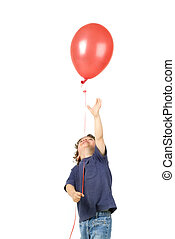 little boy red baloon - little boy holding red balloon