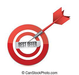 best offer target and dart illustration design over a white...