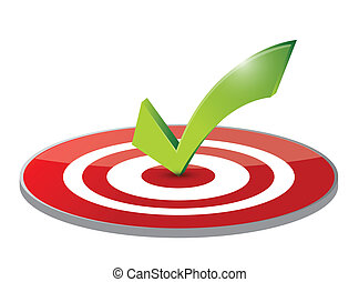 check mark target and dart illustration design over a white...