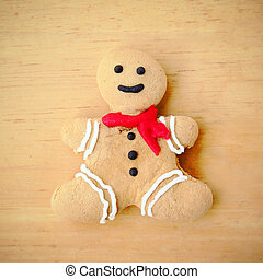 Gingerbread man with retro filter effect