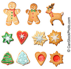 Christmas gingerbread cookies collection set isolated on...
