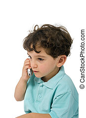 young boy talking on the phone