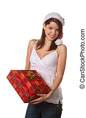 Pretty young woman with Christmas packages