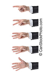 counting hands - businessman counting hands on white...