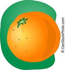 Whole orange illustration - Sketch of whole fresh orange,...