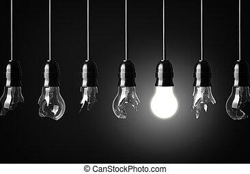 broken bulbs - idea concept with broken bulbs and one...