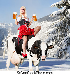 crazy tiroler or oktoberfest woman - crazy oktoberfest or...