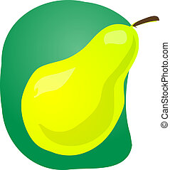 Pear fruit illustration - Sketch of whole fresh pear, fruit...