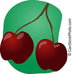 Cherries fruit illustration - Sketch of whole fresh...