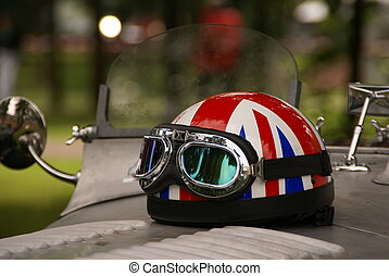 riders helmet on oldtimer - riders helmet with English flag...