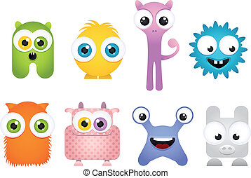 Set of Crazy Cartoon Mascot Monsters