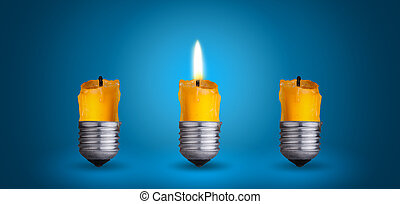 candle into light bulb - candle into lighting bulb.Idea...
