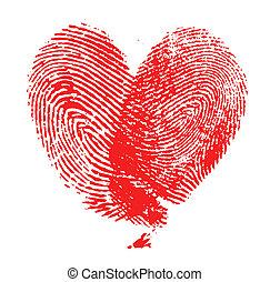 fingerprint heart on white background