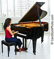 mujeres, pianista