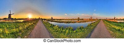 360 Kinderdijk - Beautiful panoramic image of the dutch...