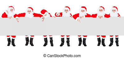 Group Of Santa Claus With Poster Banner - Group Of Happy...