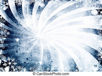 Blue winter background with snowflakes, and waterdrops.