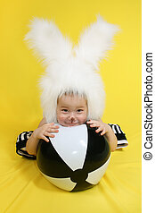 Bunny - little girl in a white downy bunny costume.