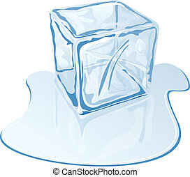 ice cube - Vector illustration of blue half-melted ice cube
