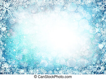 Blue winter background with snowflakes and stars.