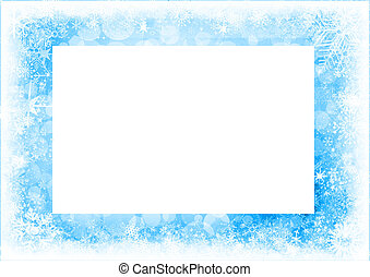 Blue Christmas card with snowflakes and bokeh.