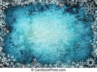 Blue winter background - Frame from snowflakes with space...