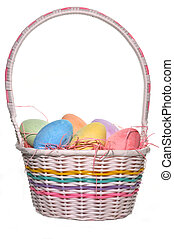 Easter Basket - Easter basket with eggs isolated on white...