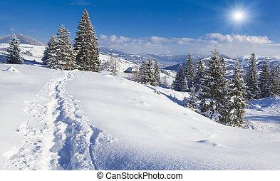Snowy morning in the mountain village Iltsi village,...