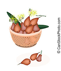 Brown Basket of Red Water Apple - Fresh Fruits, Red Water...
