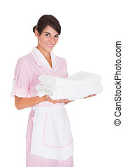 Young Female Maid With Towel - Happy Female Maid Holding...