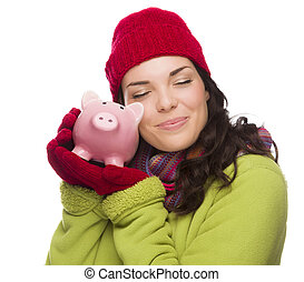 Pleased Mixed Race Woman Hugging Piggybank Isolated on White...