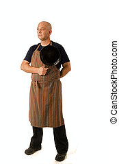 stay at home dad - man in his 40\' with apron and cooking...
