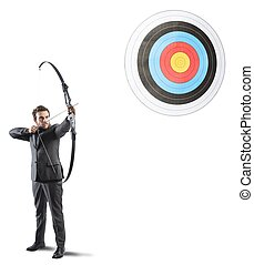Hit the target - Determinated businessman and Hit the target...