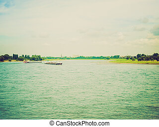 Retro look River Rhein - Vintage looking View of river Rhein...