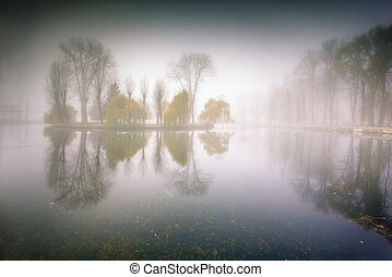 Foggy morning panorama in the autumn park near the lake....