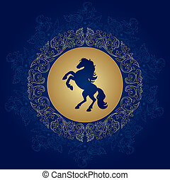 Horse silhouette on vintage floral background, vector...