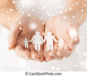 woman hands with paper man family - family, children,...