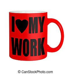 Happy workers,employees, staff - red mug isolated over white...