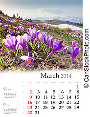 2014 Calendar. March. Colorful spring landscape in the...