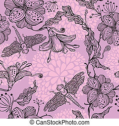 Seamless Floral Pattern With hand-drawn flowers and dragonflies