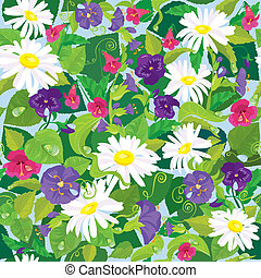 Seamless background with beautiful flowers - camomile, pansy, bellflower.
