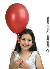 niña, rojo, globo