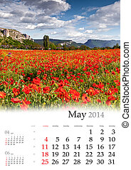 2014 Calendar. May. Blooming apple trees in the mountains in...