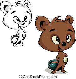 Bear with cocoa - Vector color and black and white drawing...