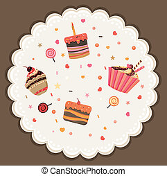 Tasty card made of cupcakes Sweet invitation Cartoon vector...