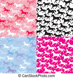 Set of seamless patterns with wild horses