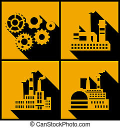Industrial factory buildings background.
