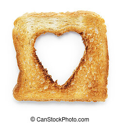 toasted slice of white bread with hole heart shape, on white...