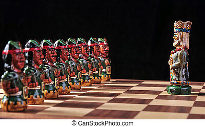 Ecuadorian chess set between Spaniards and Incas and a...