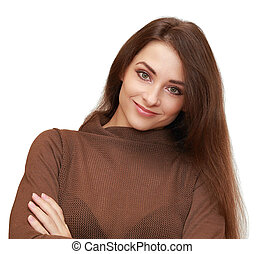 Beautiful smiling woman looking happy isolated on white...